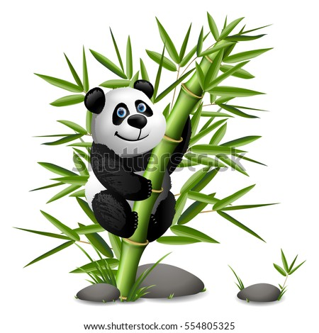 Smiling cartoon panda hanging on bamboo. Vector clip art illustration.