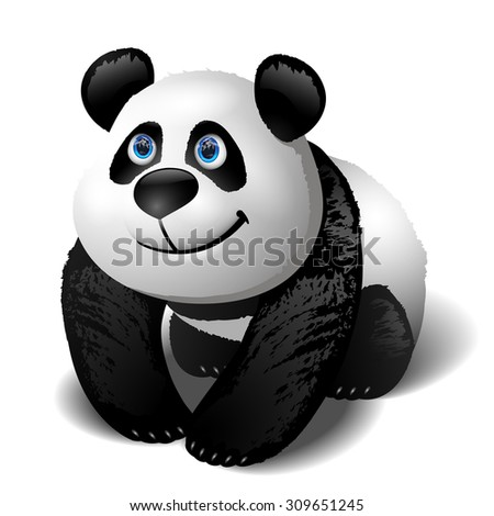 Smiling cartoon panda. Vector clip art illustration.