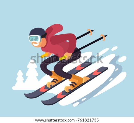 Smiling cartoon skiing downhill. Vector flat style