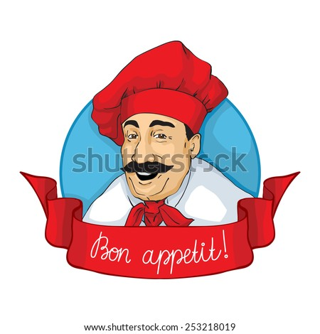 "Smiling chef face with inscription ""Bon Appetit!"". Logotype, label. Vector illustration. - stock vector"