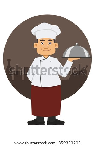Smiling chef with dish