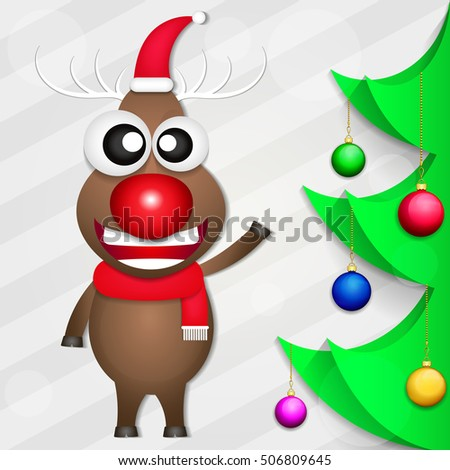 Smiling Christmas deer holiday gifts fun illustrations.
