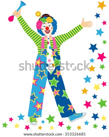 Smiling clown with tie and clown horn on white background