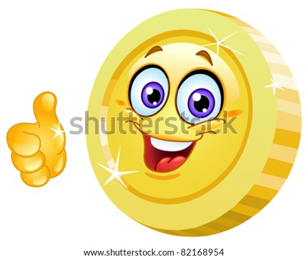 Smiling coin showing thumb up - stock vector
