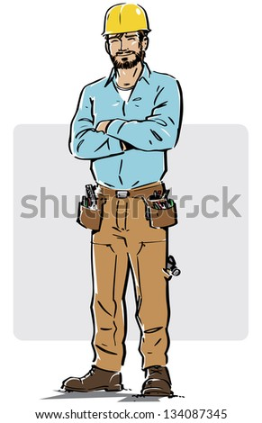 Smiling construction worker with arms crossed and yellow hard hat. The grey box that work as a background can easily be removed to work in a different layout. - stock vector