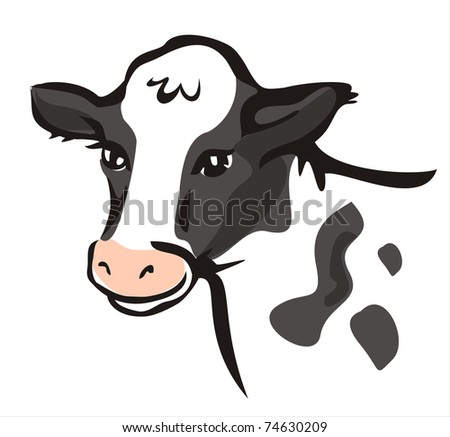 smiling cow portrait in simple lines - stock vector