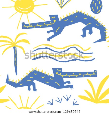 smiling crocodiles basking in the sun vector seamless background - stock vector