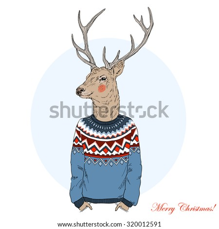 smiling deer in jacquard pullover, hand drawn graphic, Merry Christmas and Happy New Year design - stock vector