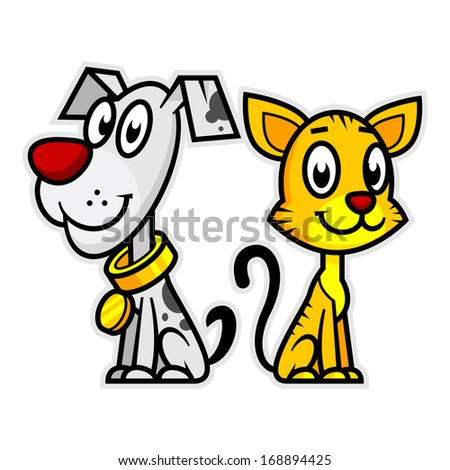Smiling Dog and Cat - stock vector