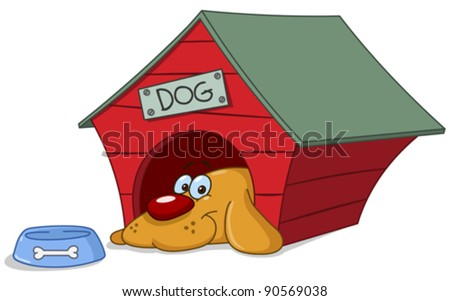 Smiling dog in his doghouse - stock vector