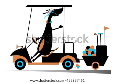 Smiling dog is going to play golf in the golf cart - stock vector