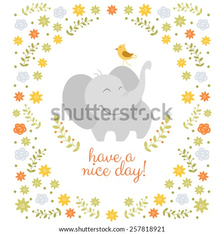 Smiling elephant on floral background - stock vector