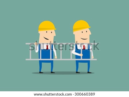 Smiling engineers carrying ladder, for industrial design. Cartoon flat style - stock vector