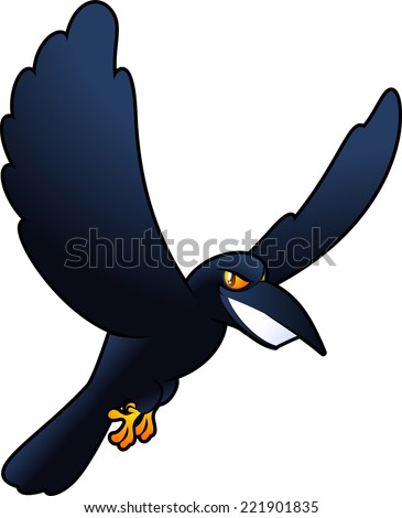 Smiling evil Spooky horror flying carrion raven Crow bird vector illustration cartoon.  - stock vector