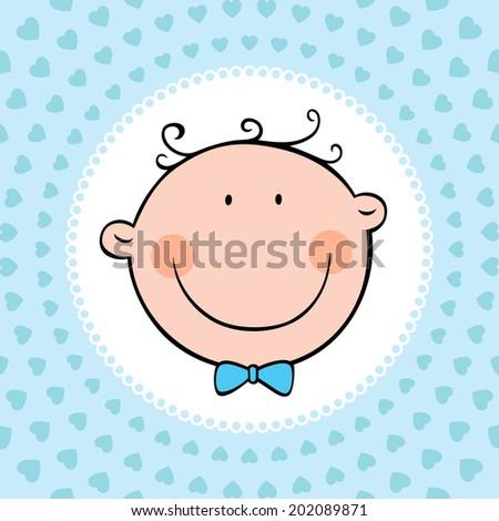 Smiling face of newborn baby boy. Vector illustration. - stock vector
