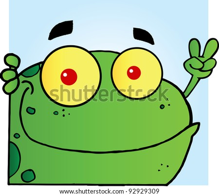 Smiling Frog Gesturing The Peace Sign With His Hand - stock vector