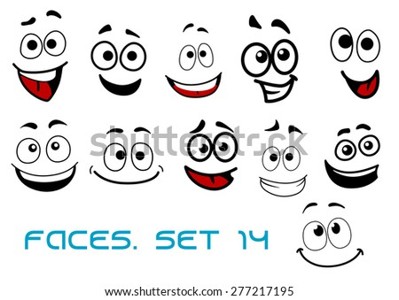 Smiling funny faces in cartoon comic style showing happiness, joyful and cheerful emotional expressions suitable for humor or character design - stock vector