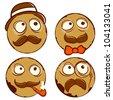 Smiling funny vintage four balls. Vector illustration - stock vector