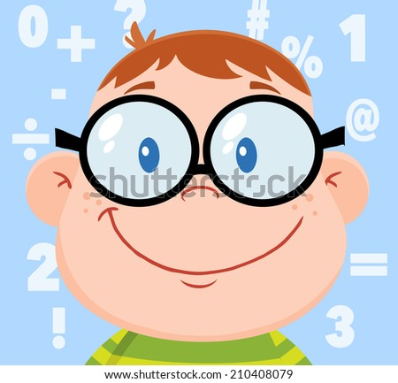 Smiling Geek Boy Head With Background And Numbers. Vector Illustration  - stock vector
