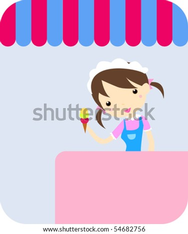 smiling girl-confectioner with icecream - stock vector