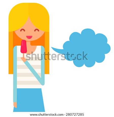 Smiling  girl with blonde hair eats icecream and talk via speech bubble.  flat vector illustration with cute character. - stock vector