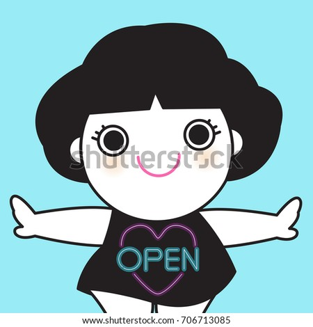 Smiling Girl With Her Arms Spread Out Wide And Her Neon Light Purple Heart Shaped Line And Blue Words Letter Open On Black Dress Concept Card Character illustration