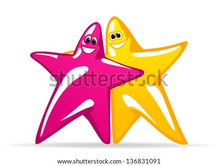 Smiling glossy stars in cartoon style for any art design. Jpeg (bitmap) version also available in gallery - stock vector