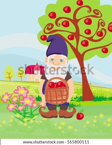 smiling gnome gardener in the orchard - stock vector