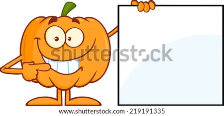 Smiling Halloween Pumpkin Mascot Character Showing A Blank Sign - stock vector