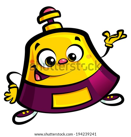 Smiling happy cartoon reception bell help desk character making an inviting and welcoming gesture - stock vector