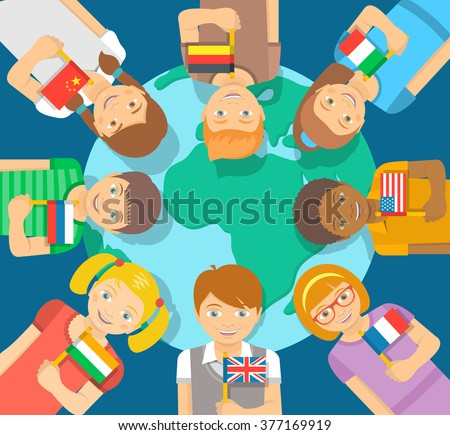 Smiling happy kids of different races around the Earth. Children hold flags of several countries. Childhood friendship worldwide. Flat vector illustration. International communication concept - stock vector