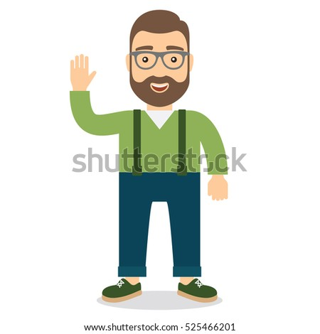 Smiling happy man waving. Flat style vector illustration.