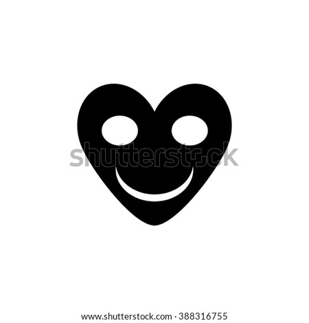 Smiling heart flat icon - stock vector