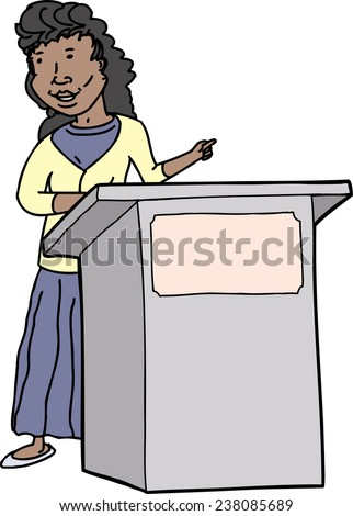 Smiling hispanic woman speaking at lectern on isolated background - stock vector