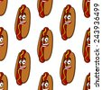 Smiling hot dog seamless pattern for fastfood or takeaway food design - stock vector