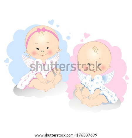 Smiling little angels boy and girl isolated on white background - stock vector