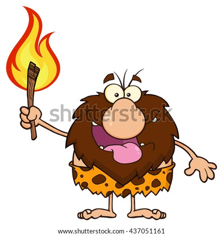 Smiling Male Caveman Cartoon Mascot Character Holding Up A Fiery Torch. Vector Illustration Isolated On White Background - stock vector