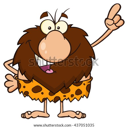 Smiling Male Caveman Cartoon Mascot Character Pointing. Vector Illustration Isolated On White Background