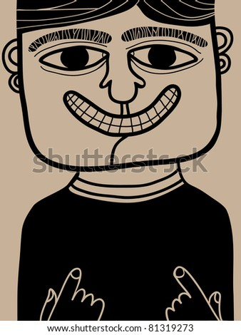 smiling man - stock vector