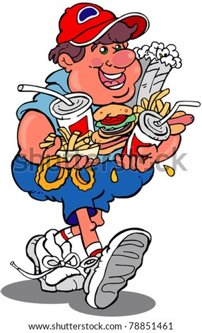 smiling man carrying an armful of fast food