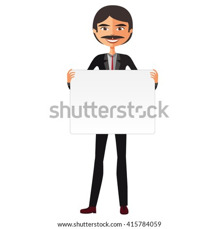 Smiling man holding placard. Character with a horizontal board. Vector. Dark-haired man - stock vector