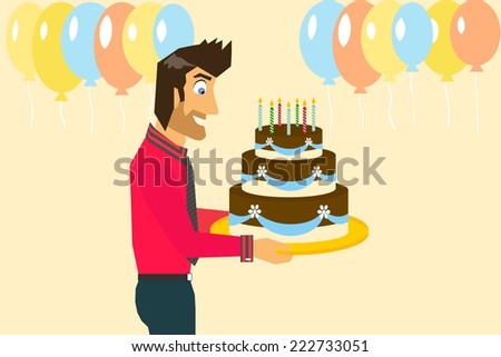 Birthday Cake Images Vektor ~ Smiling man celebrating birthday big cake stock vector