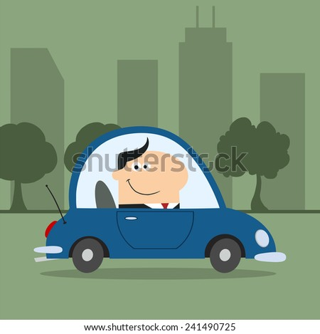 Smiling Manager Driving Car To Work In City.Modern Flat Design Vector Illustration - stock vector