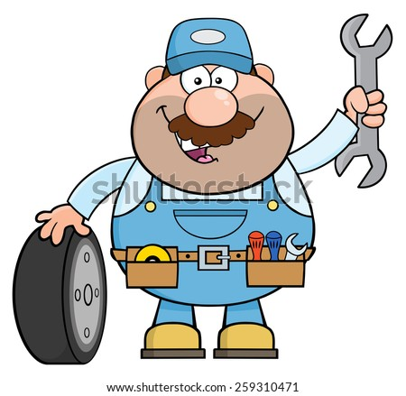 Smiling Mechanic Cartoon Character With Tire And Huge Wrench. Vector Illustration Isolated On White - stock vector