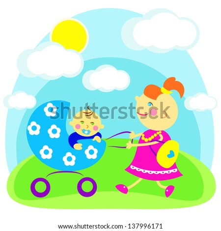 Smiling mom walks in the outdoors with your child - stock vector