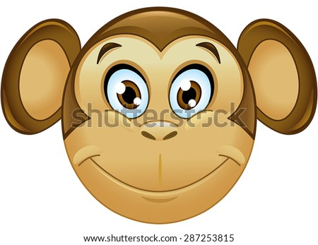 Smiling monkey emoticon - stock vector