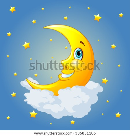 Smiling moon on radial background - stock vector