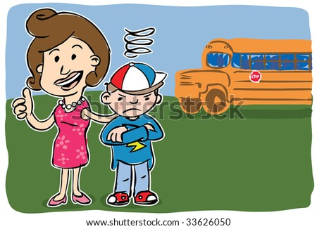 Smiling mother giving camera thumbs up standing beside grumpy son with school bus in background - stock vector