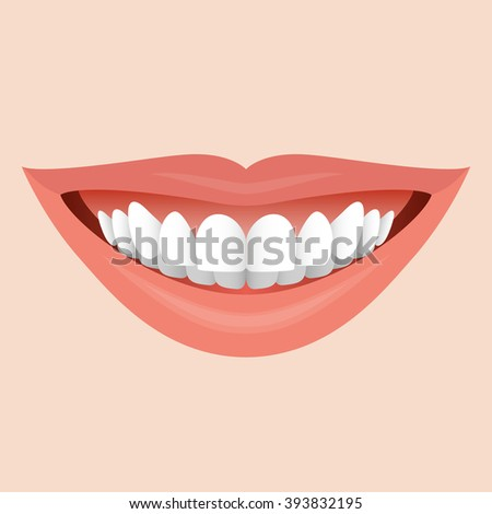 Smiling Mouth with White Teeth. Illustration for Creative Idea - stock vector