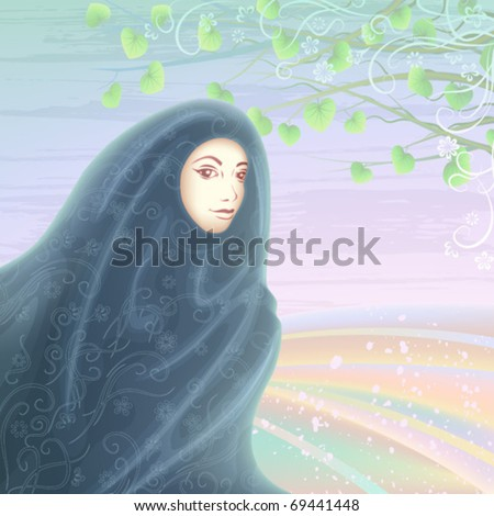 Smiling muslim woman wearing a dark hijab against light pastel landscape